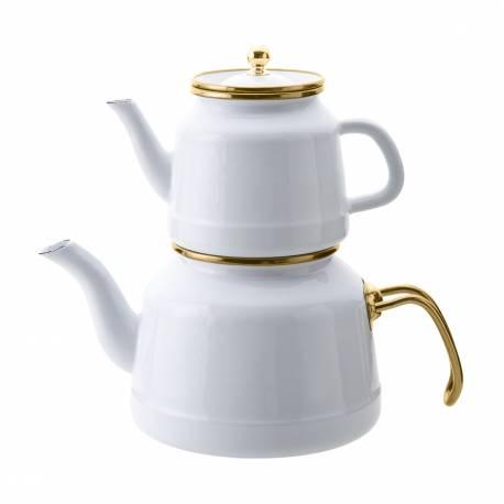 Emsan Troy Enamel Teapot Set White