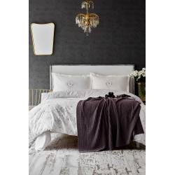 Karaca Home Quatre Deluxe, Murdum Duvet Cover and Knit Blanket Set