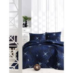 Eponj Home Quilted Bed Cover Set Single MegaStar Navy Blue