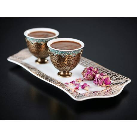 Arzum Okka Ismail Acar Double Turkish Coffee Cup and Small Tray Set WHITE