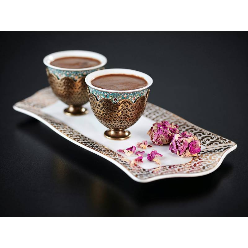 Arzum Okka Ismail Acar Double Turkish Coffee Cup And Small Tray Set White Loading Zoom