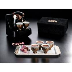 Arzum Okka Ismail Acar Six Turkish Coffee Cup and Large Tray Set WHITE