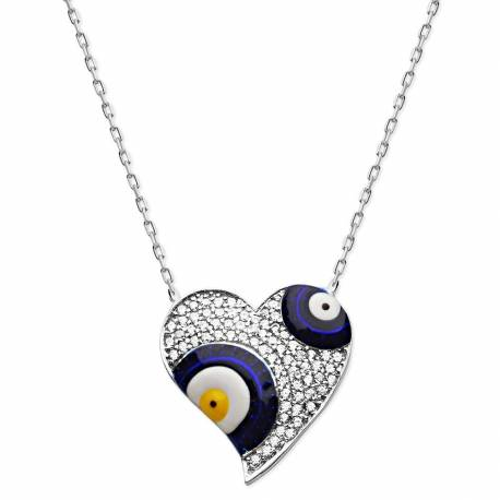 925 Silver Zircon Stone Heart Evil eye Necklace