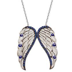 Silver Angel Wing Zircon Stone Evil Eye beaded necklace