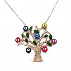 Chavin The Tree of Life Women's Pendants Silver Enamel Evil Eye